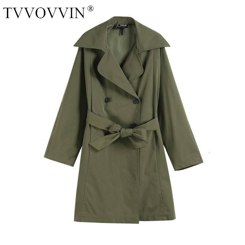 TVVOVVIN Women Coat Women   Trench   Coats Bandage Double Breasted Long Coats Black Armygreen All Match   Trench   2019 New Fashion X433
