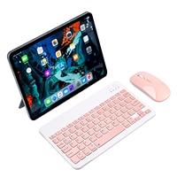Mouse e tastiera Wireless rosa Mini tastiera spagnola russa tastiera Bluetooth per Tablet Smartphone IPad IOS telefono Android
