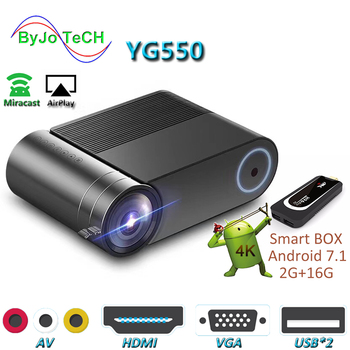 ByJoTeCH YG550 1080P LED Projector WiFi Multi-Screen Home Theater Beamer Android 7.1  optional Full HD Proyector 4000 lumens buianuwod g08 home theater projector 480p 720p led 150 full hd 1080p wifi android bluetooth proyector support ac3 dolby sound