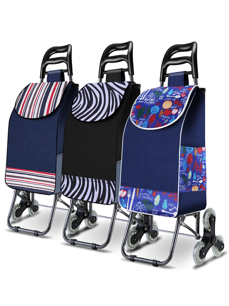 25L Lightweight Folding Shopping Carts Sturdy Hand  Trolleys Shopping Bag Waterproof 6 Wheels Climb Stairs Easily