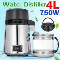 750W 110V 4L Digital Display Pure Water Distiller Filter Stainless Steel Electric Water Distilled Machine Distillation Purifier