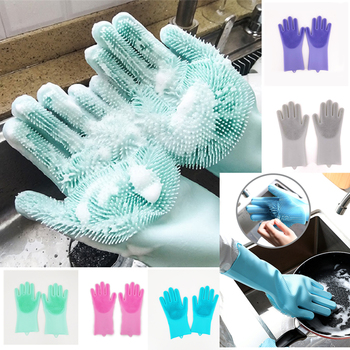 10 Pairs Wholesale Silicone Kitchen Cleaning Dishwashing Gloves Magic Scrubber Rubber Dish Washing Gloves Tools Kitchen Gadgets