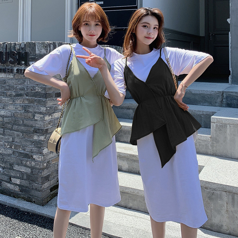Irregular Camisole Design WOMEN'S Suit Summer Mid-length Over-the-Knee Slimming T-shirt Two-Piece Set