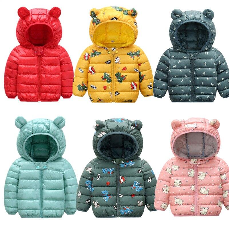 Милая осенне-зимняя одежда новый детский тонкий и легкий хлопковый пуховик модное пальто с капюшоном и рисунком для маленьких мальчиков ве...
