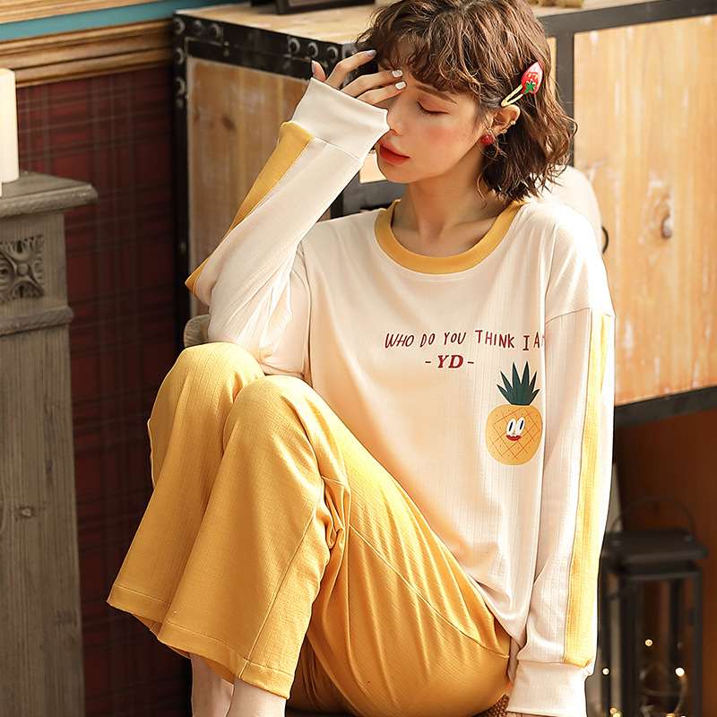 Korean-style Pajamas Women's Spring And Autumn Long Sleeve Pure Cotton Cute Students English Pineapple Two-Piece Set Thin Outer