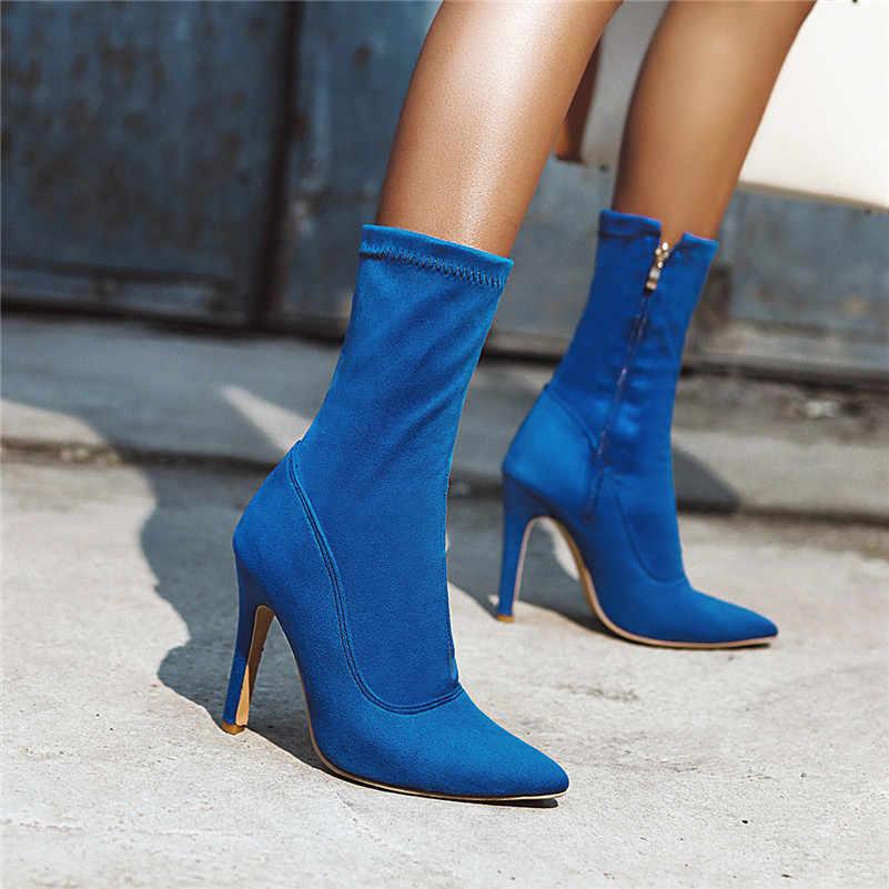 Meotina Thu Cổ Chân Giày Boot Nữ Khóa Kéo Đế Gót Giày Boot Cổ Ngắn Gợi Cảm Cao Cấp Gót Giày Nữ Mùa Đông Màu Đỏ Kích Thước Lớn 33-46