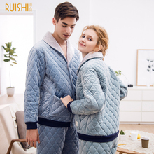 Warm Pajamas Night-Suits Couple Winter Sleepwear Home-Wear Women Velvet Thick And
