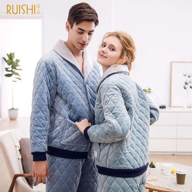 2020 カップル夜のスーツ男性と女性厚いビロードパジャマセット冬パジャマホームウェア暖かいパジャマカップルマッチングパジャマ
