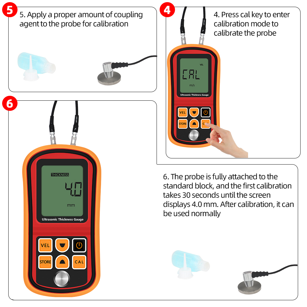 Tools : GM100 Thickness Gauge Ultrasonic Metal Testing Voice Sound Velocity Meter Steel Thickness Tester Pipe Thick Measuring TooL 37percent