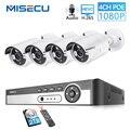 MISECU H.265 1080P CCTV система POE NVR комплект 4CH 2MP POE IP камера пуля наружная Водонепроницаемая домашняя камера наблюдения Обнаружение движения