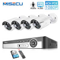 MISECU H.265 1080P CCTV System POE NVR Kit 4CH 2MP POE IP Camera Bullet Outdoor Waterproof Home Surveillance Motion Detection