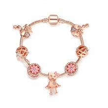 Новое поступление, подарок на день Святого Валентина, золотой браслет с подвеской, сердце с хрустальными бусинами, DIY Браслеты и браслеты, женские браслеты