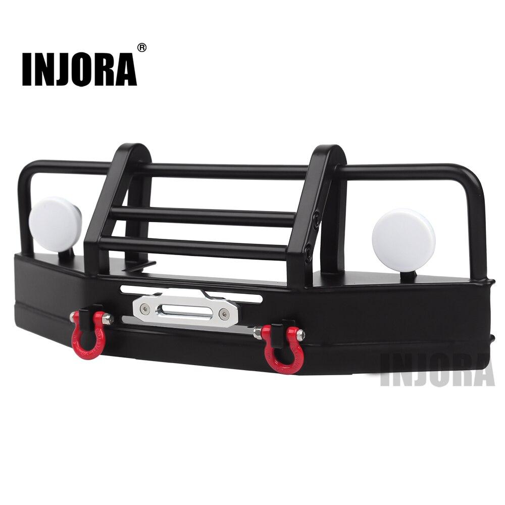 INJORA 1pcs RC Car Metal Front Bumper with LED Light for 1/10 RC Rock Crawler Traxxas TRX4 Axial SCX10 90046 D90|Parts & Accessories|   - title=