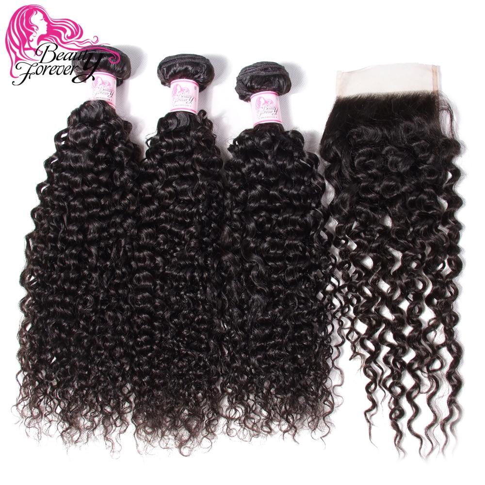 Beauty Forever-extensiones de cabello humano rizado malayo, 4x4, cierre libre/Medio/tres partes, 100%, Remy
