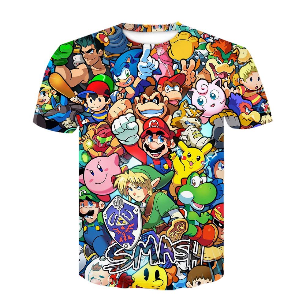 Super Smash Bros Mario Pokemon Go 3D Print Tshirt Boys Girls Tops Tees Clothes Funny T-shirt Kids Baby Shirt Camiseta Bossa Nova