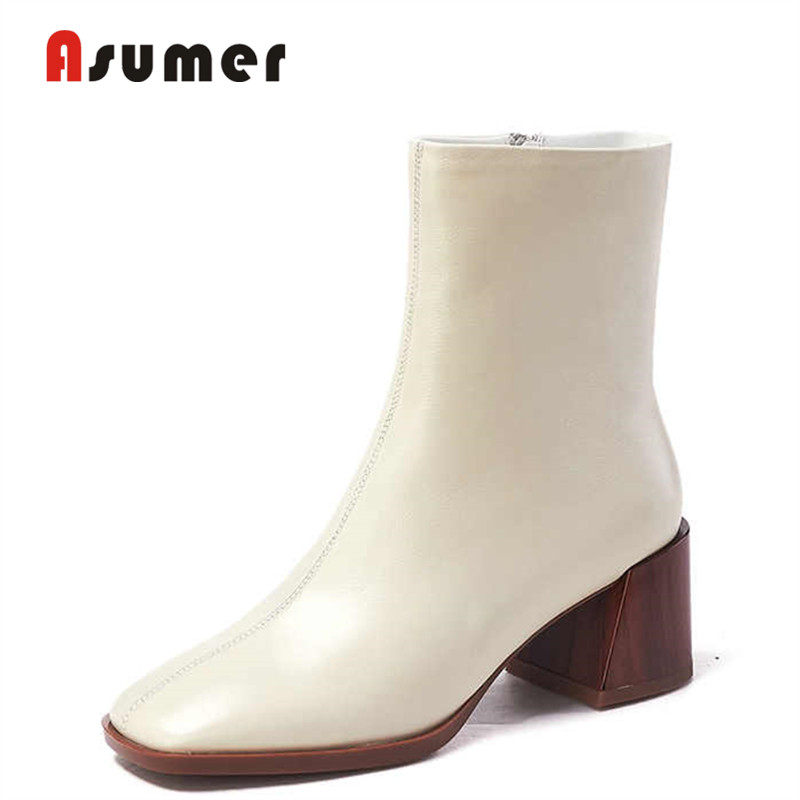 ASUMER Boots Women Dress-Shoes Office Street-Winter Genuine-Leather Basic Ankle