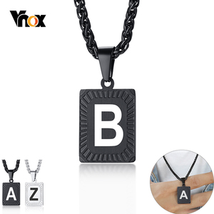 Vnox Men's Initial Pendant A-Z 26 Letters Necklaces Stainless Steel Metal Geometric Charm with 24