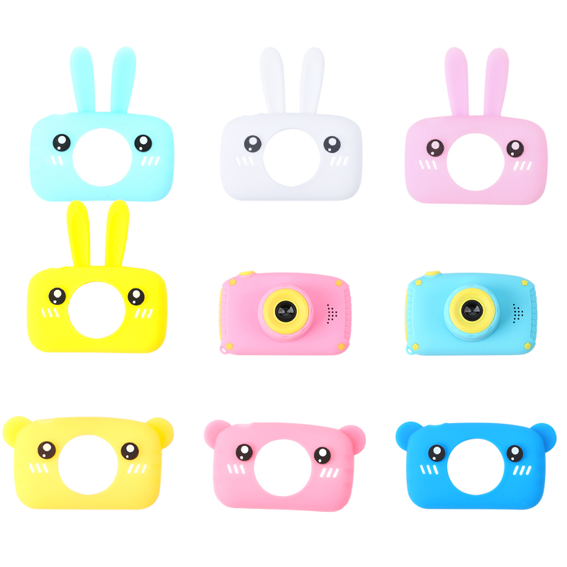 1pc Baby Cartoon Camera Case Rabbit Bear Cartoon Collocation Camera Rubber Soft Protective Case Cap Montessori Toy Children Gift