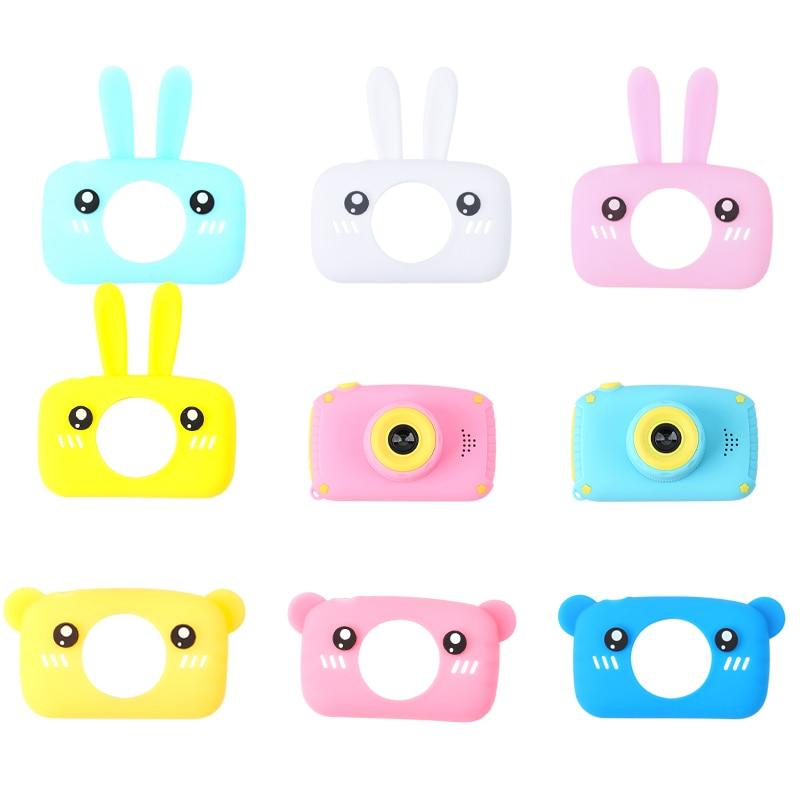 1pc Baby Cartoon Camera Case Rabbit Bear Cartoon Collocation Camera Rubber Soft Protective Case Cap Montessori Toy Children Gift