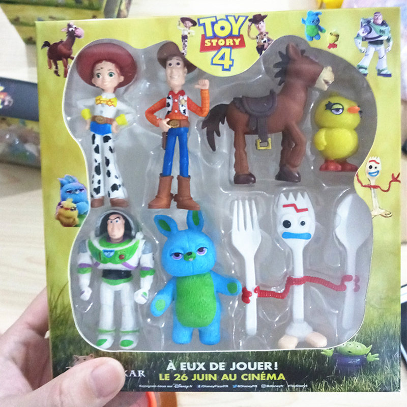 7pcs/set Toy Story 4 Action Figure Toy Woody Buzz Lightyear Jessie Forky Doll Collectible  Cartoon Model Toys For Children Gifts