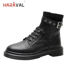HARAVAL Classic Women Ankle Boot Quality Genuine Leather Round Toe Low Heel Lace-up Shoe Zipper Winter Fashion Buckle Boots B216