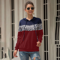 Women Sweatshirt Ladies Hoodie Tops Spring Autumn Pullover Casual Fashion Fall Contrast Color Drawstring Outwear