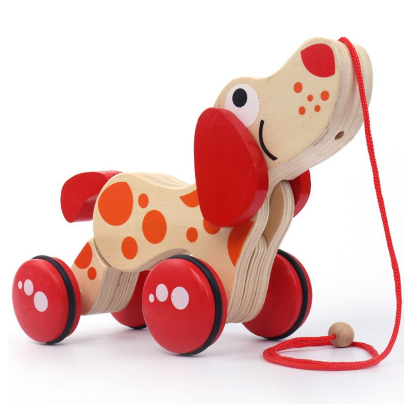 Children Cartoon Puppy Drag Toys Baby Kids Wooden Crocodile Haul Truck Twist Toy R7RB