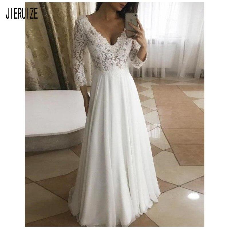 JIERUIZE Charming Lace Wedding Dresses Sexy V Neck Long Sleeves Bride Dresses A Line Bridal Gown Vestido De Noiva Customized