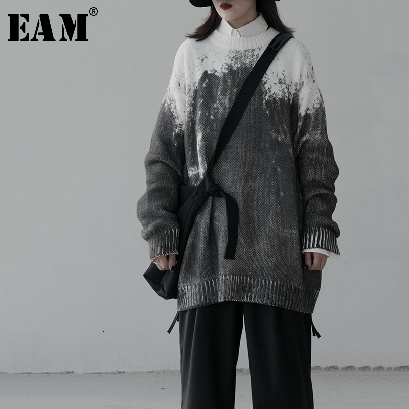 [EAM] Gray Big Size Knitting Sweater Loose Fit Round Neck Long Sleeve Women Pullovers New Fashion Tide Autumn Winter 2019 1K516