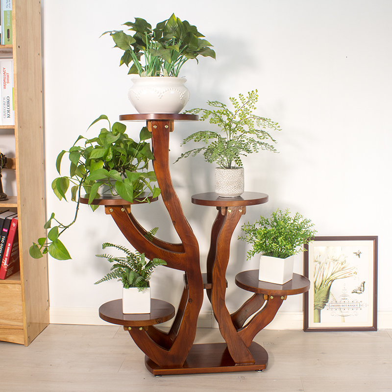 A Room Balcony To Ground Multi-storey Decorate Woodiness European Style Wooden Green Luo Flower Airs Indoor Flowerpot Frame