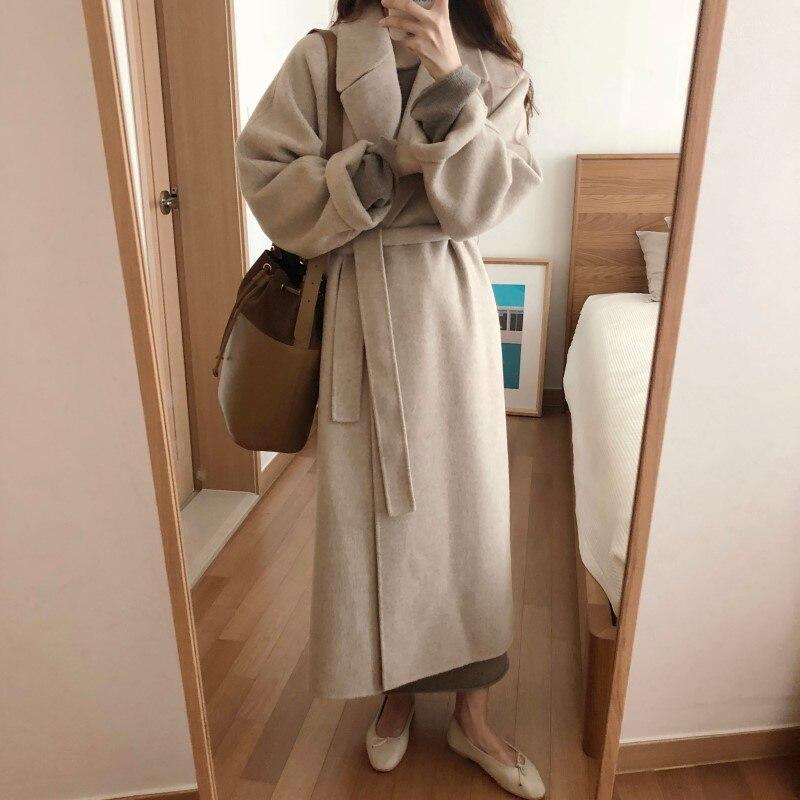 19 Winter Oversize Long Trench Coat Women Cashmere Coat Korean Lady Windbreaker Outwear Streetwear 54