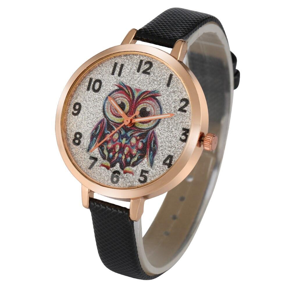 Pequena mulher relógios de quartzo fosco coruja padrão senhoras relógio liga de ouro caso pulseira de couro fino feminino relógio de pulso presente namorada
