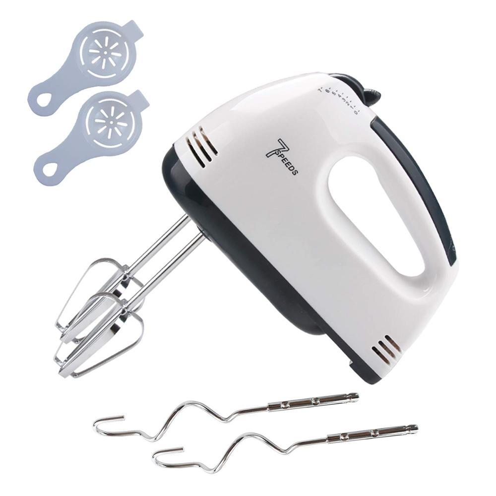 7 velocidade 180w misturador de mão elétrico para cozinha cozimento bolo mini ovo creme batedor de alimentos-2x ganchos de massa, 2x separador de ovos