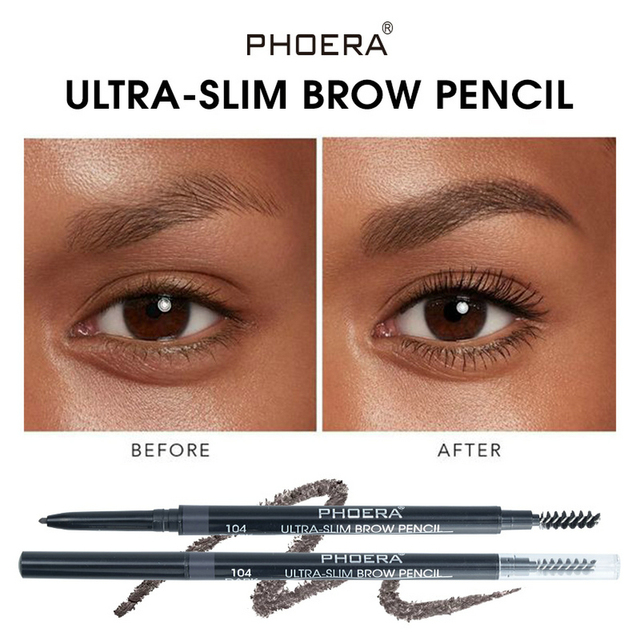 PHOERA 5 Color Double Ended Eyebrow Pencil Waterproof Long Lasting No Blooming Rotatable Eyebrow Tattoo Pen Makeup Brush 2