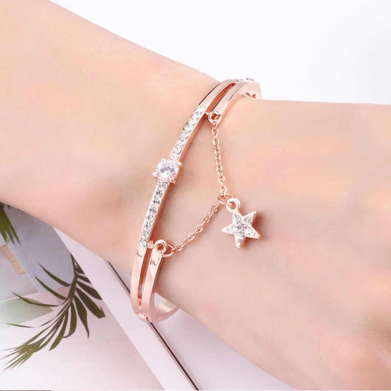 יוקרה מפורסם מותג תכשיטי רוז זהב נירוסטה צמידים & צמידי נקבה לב לנצח אהבת קסם צמיד לנשים