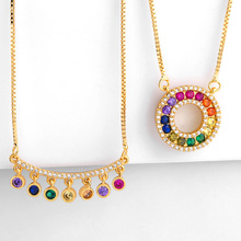 2019 Rainbow CZ Necklaces For Women Micro Pave Zirconia Long Gold Chain Colorful Stone Pendant Fashion Jewelry nke-p60