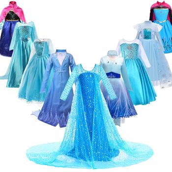 Sukienka księżniczki elsy dla dziewczynek dzieci boże narodzenie Cosplay królowa śniegu 2 Elza Anna kostium dzieci karnawał urodziny odzież na przyjęcia tanie i dobre opinie COTTON spandex Satin Mesh Połowy łydki O-neck Dziewczyny REGULAR Pełna Nowość Pasuje prawda na wymiar weź swój normalny rozmiar