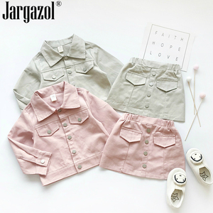 Baby Girls Clothes Set Long Sleeve Fashion Jacket with Button Skirt New Arrival Baby Kids Clothing Sets 2019 New Style(China)