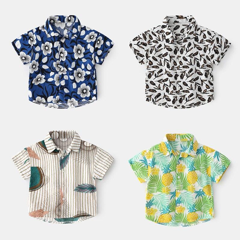 Soft and comfortable Lapel children's shirt 2021 Summer Boys' short sleeve shirt Abstract trend short sleeve children's shirt