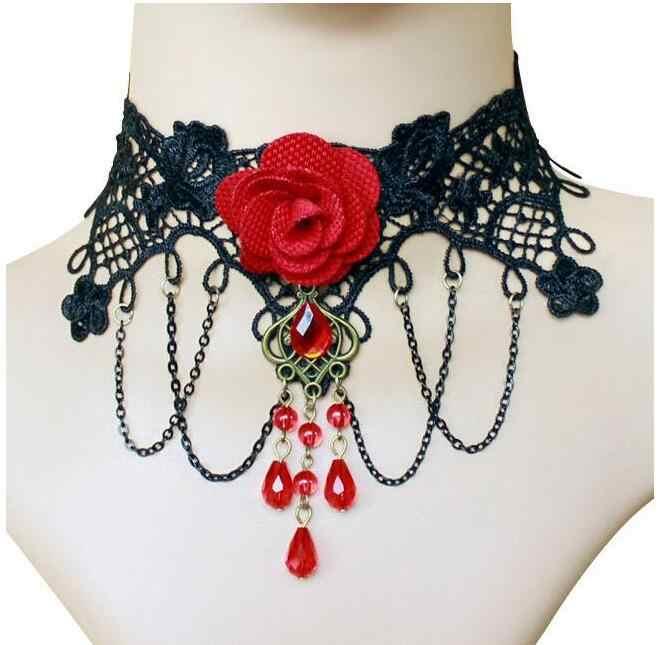 جديد Collares مثير القوطية المختنقون كريستال الأسود الدانتيل الرقبة المختنق قلادة خمر الفيكتوري النساء Chocker Steampunk مجوهرات