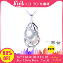 ZHBORUINI Pearl Necklace Pearl Jewelry 925 Sterling Silver Jewelry For Women Natural Freshwater Pearl beads Pendants Wholesale(China)