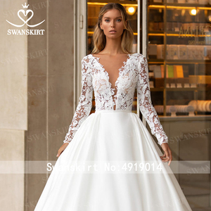 Image 4 - SWANSKIRT Vintage Lace Wedding Dress 2020 V neck Long Sleeve A Line Train Princess Customized Bridal Gown Vestido de novia I322