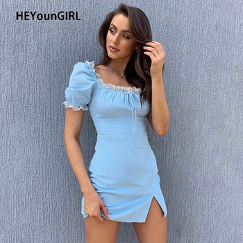 HEYounGIRL Side Lace Summer Vintage Short Dress Women Split Short Sleeve Mini Dresses Ladies Solid Tie Up Square Collar Dress short sleeve self tie dolman dress