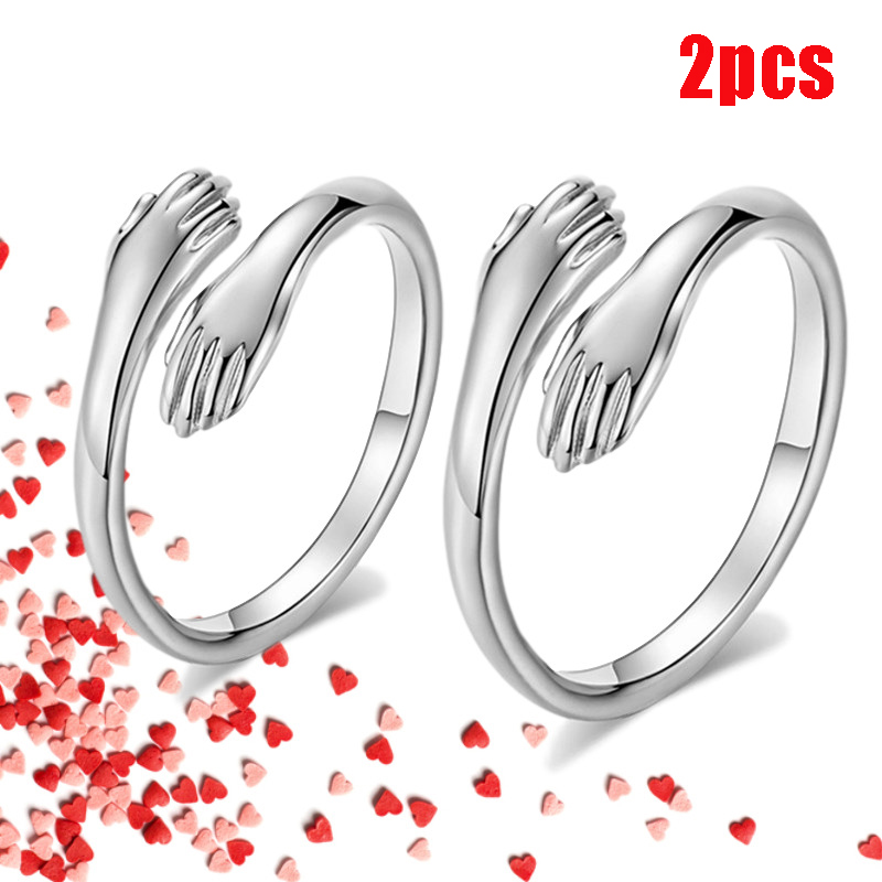 2021 Valentine's Day Gift Love Hug Open Ring Retro Simple Rings Letter Finger Ring Unisex Adjustable Size Ring Jewelry Gift