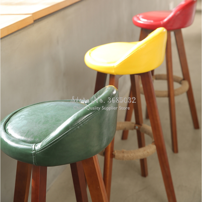 American Bar Chair Long Foot Bar Stool Nordic Modern Minimalist High Stool Backrest Cafe Creative Solid Wood Bar Stool