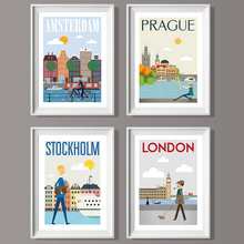 The Morning of City London Sweden Amsterdam Poster Landscape Art Canvas Painting Wall Pictures Print Modern Home Room Decoration the morning of city london new york vintage poster art canvas painting wall picture print modern home room decoration unframed