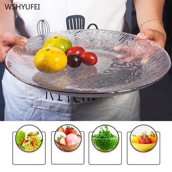 Direct Sales New Creative Glass Transparent Tableware Hammer Eye Pattern Phnom Penh Steak Salad Cake Storage Decorative Plate