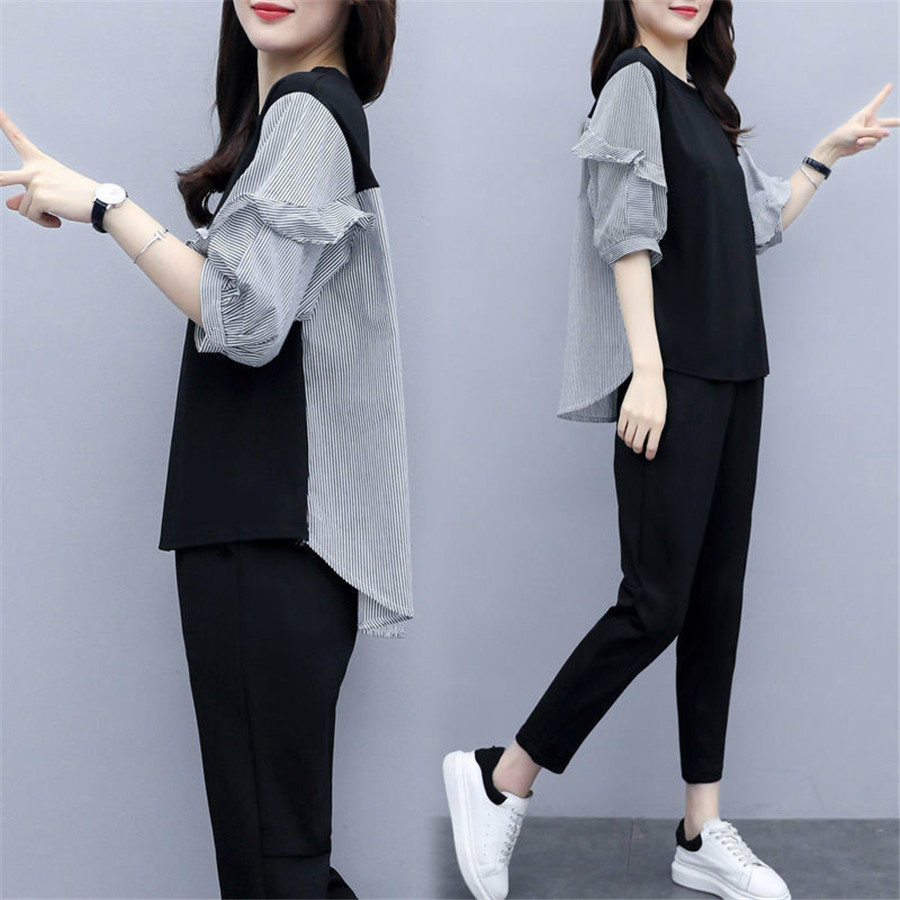 2020 Summer Casual Tracksuits Women 2 Piece Set O Neck Tops + Pants New Arrival Short Sleeve Sporting Suits