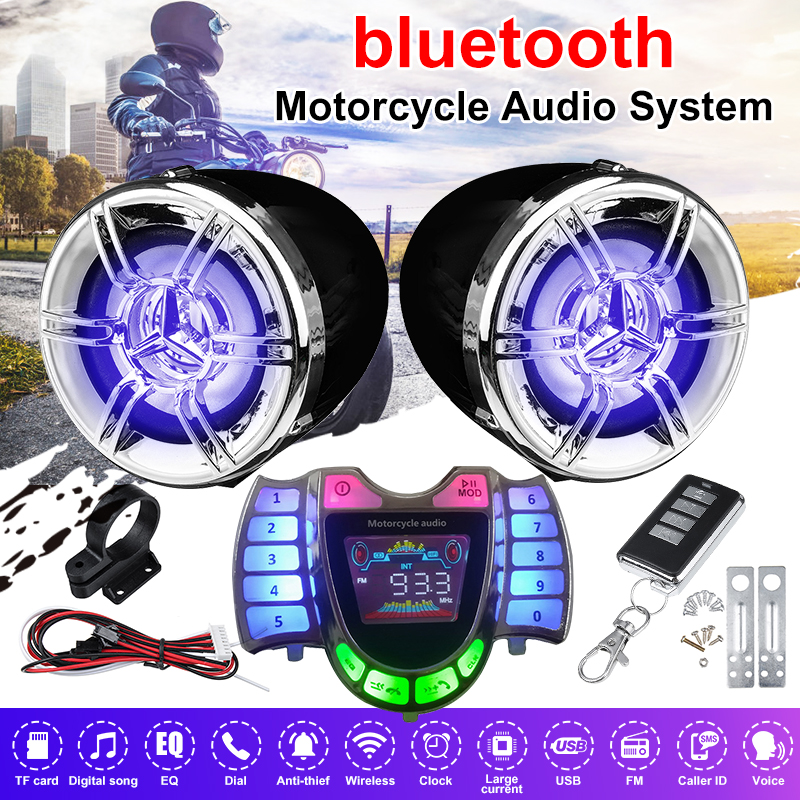 bluetooth Motorcycle Audio Stereo Sound Anti-theft Alarm System Waterproof Amplifier Speaker TF FM MP3 Music with Remote Control
