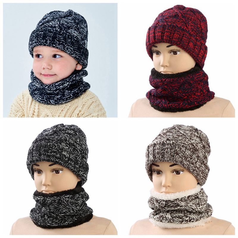 New Thick Winter Children's Scarf Hat Set Warm Boy Girl Baby Hat Scarf Suit Knitted Cotton Bonnet Baby Accessories
